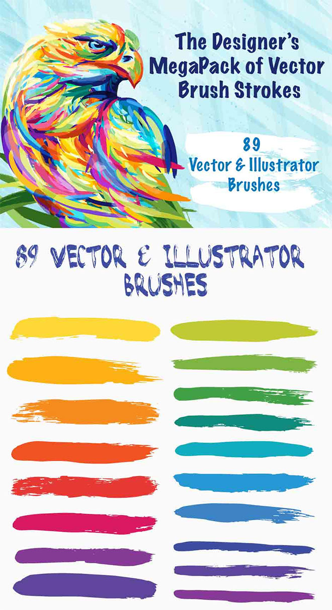 Designer's MegaPack of Vector Brush Strokes