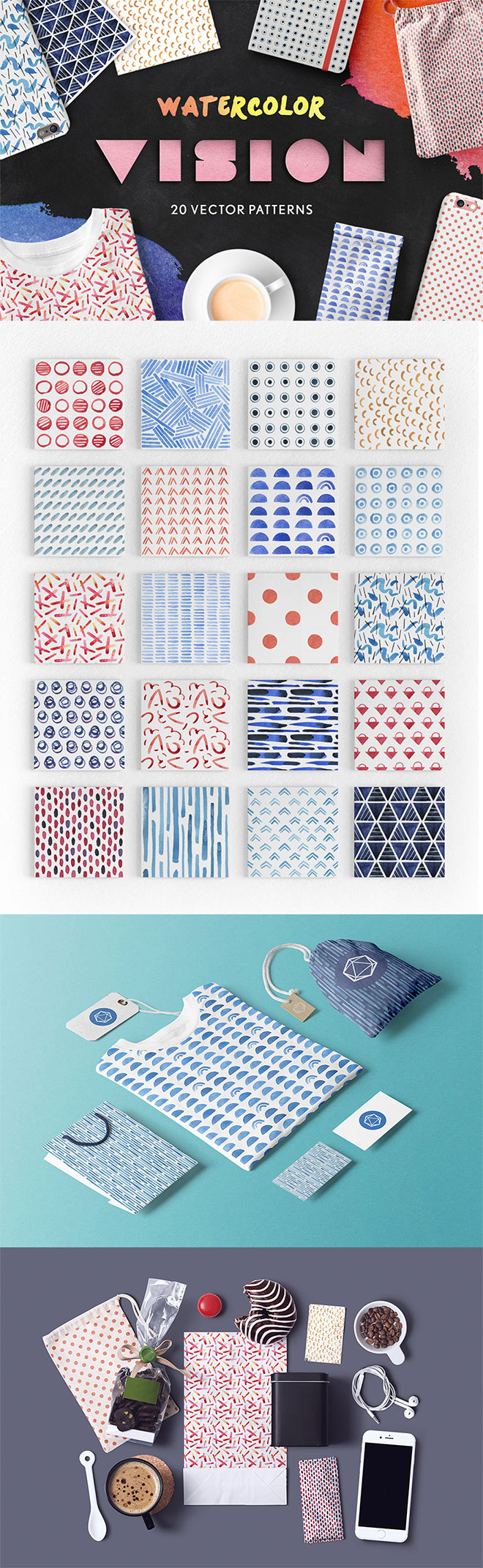 Watercolor Vision Vector Patterns