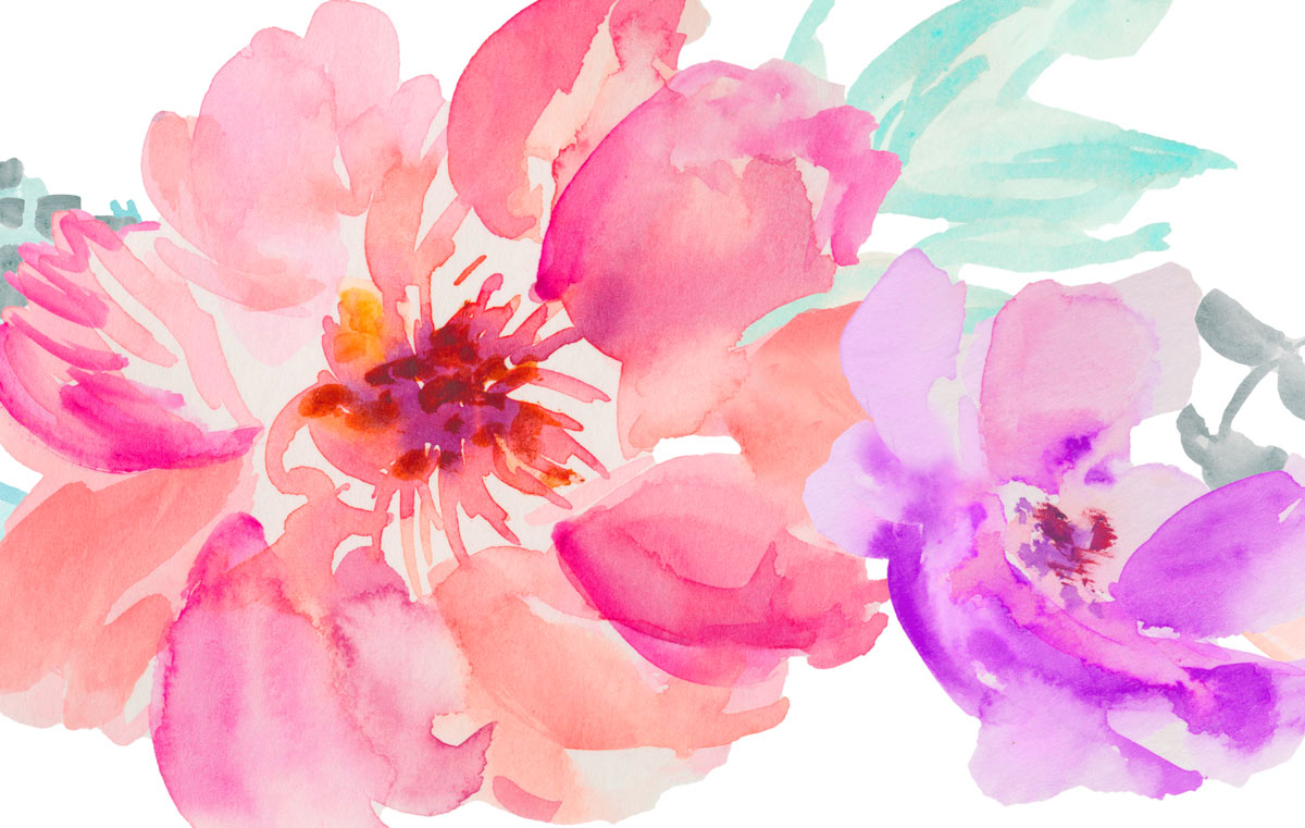 48 Hand Painted Watercolor Flowers For Premium Members