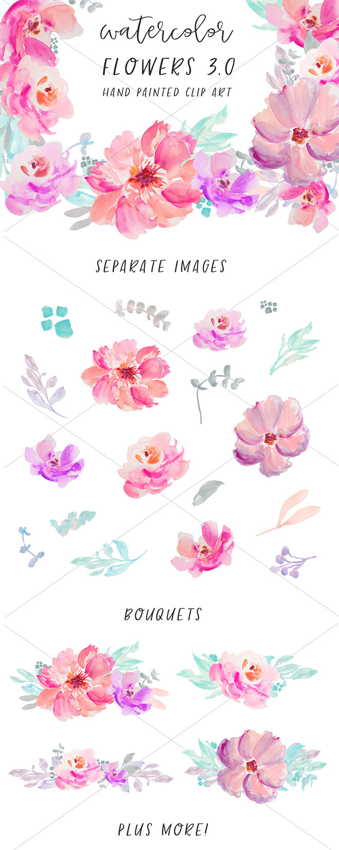 48 Watercolor Flowers Clip Art