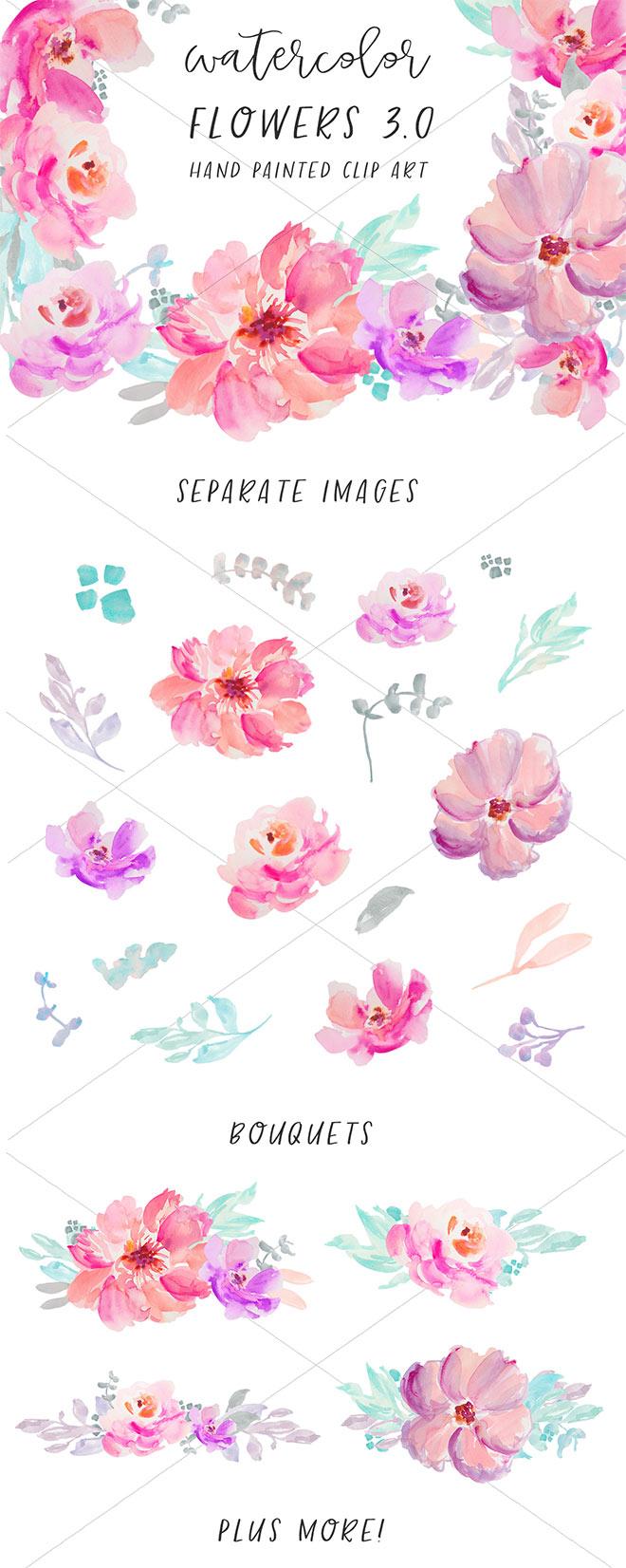 48 Watercolor Flowers Clip Art
