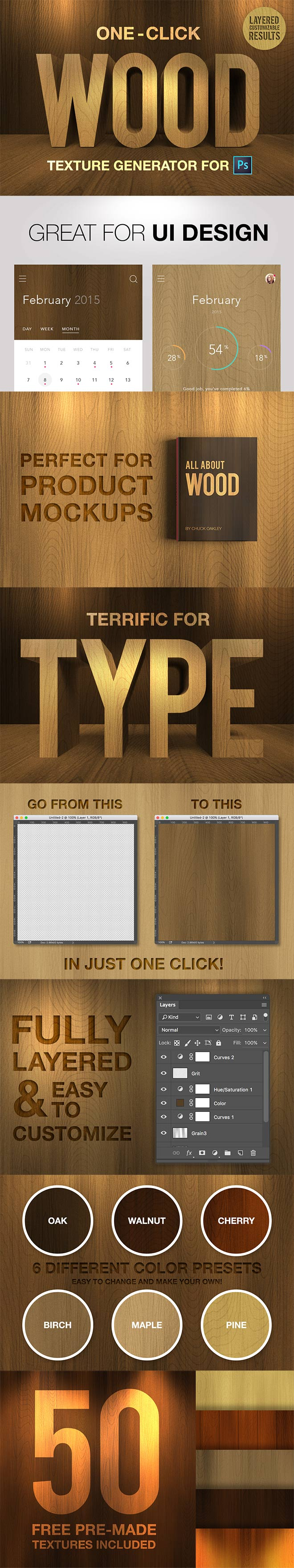 On Click Wood Texture Generator
