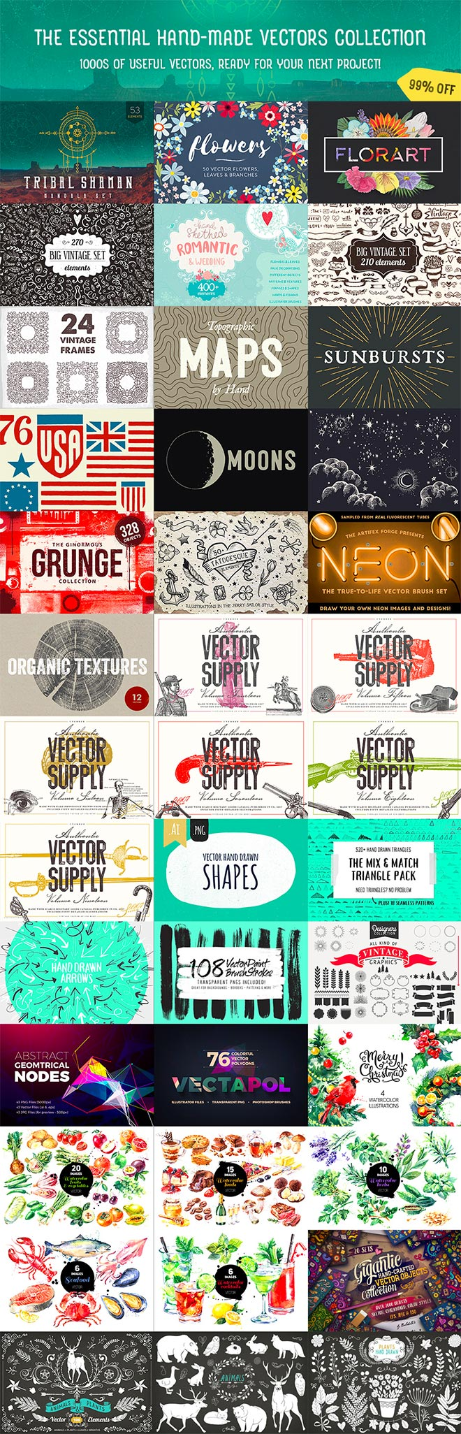 A Huge Variety of Vector Graphics Packs for Just $29 (99% off)