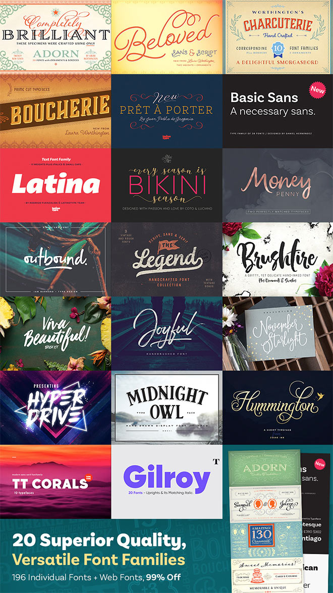20 Superior Quality Fonts with a Huge 99% Discount for just $29