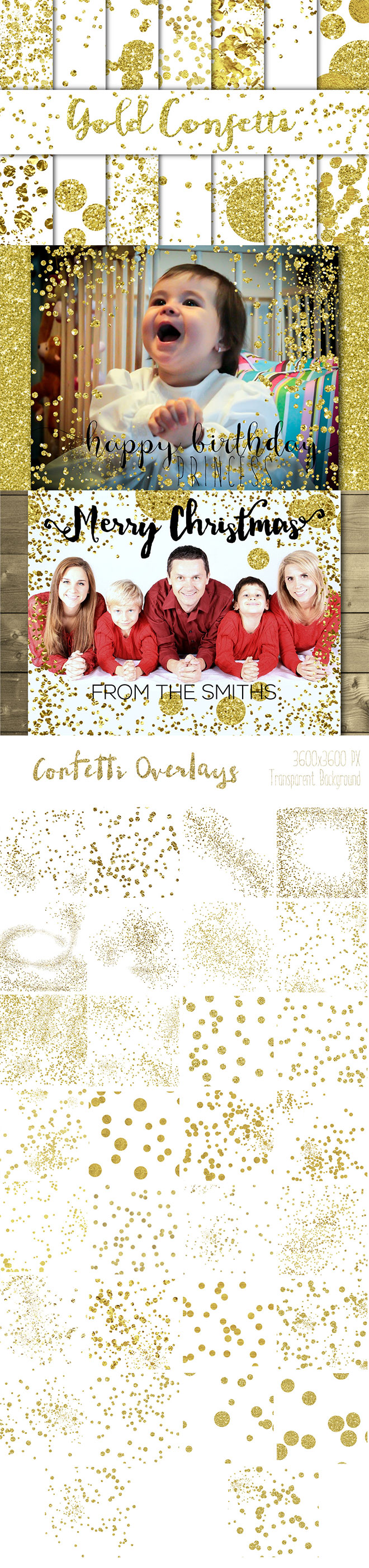 Gold Confetti Backgrounds and Overlays