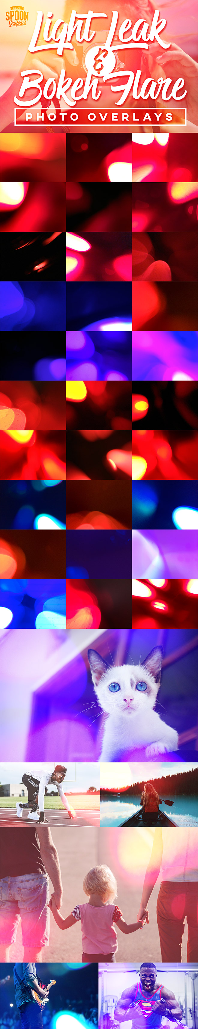 30 Free Light Leak and Bokeh Flare Photo Overlays