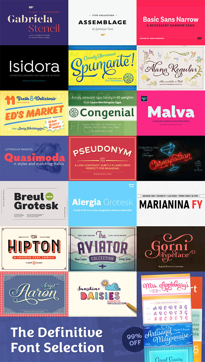 Over $2000 Worth of Big Hitting Font Families for Just $29