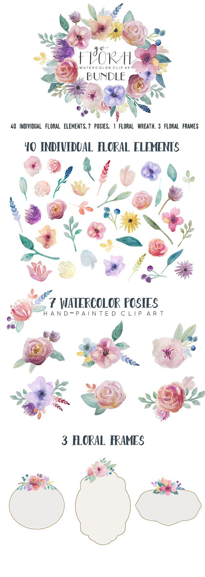 Go Floral Watercolour Clip Art