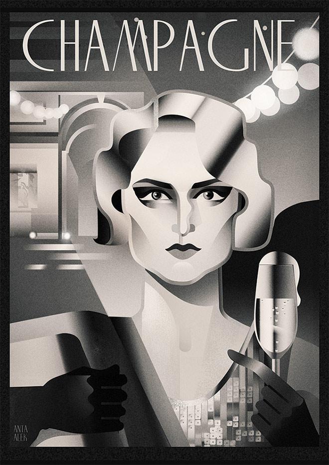 20ies Art Posters by Antonina Aleksandrova