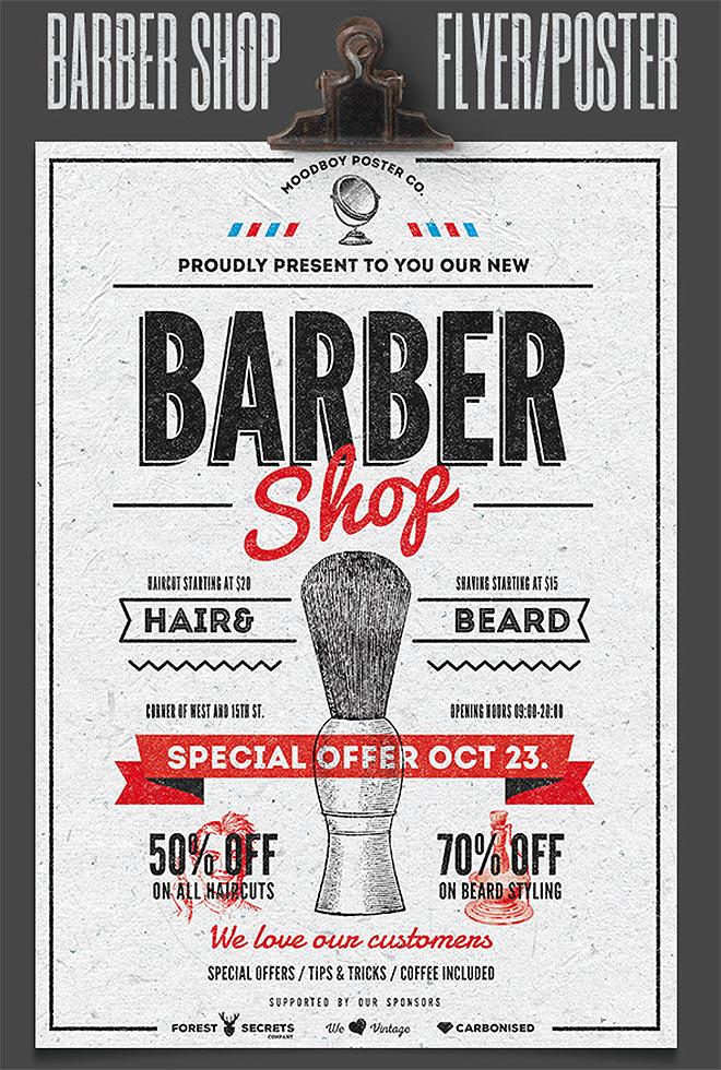 Barber Shop Flyer by moodboy co