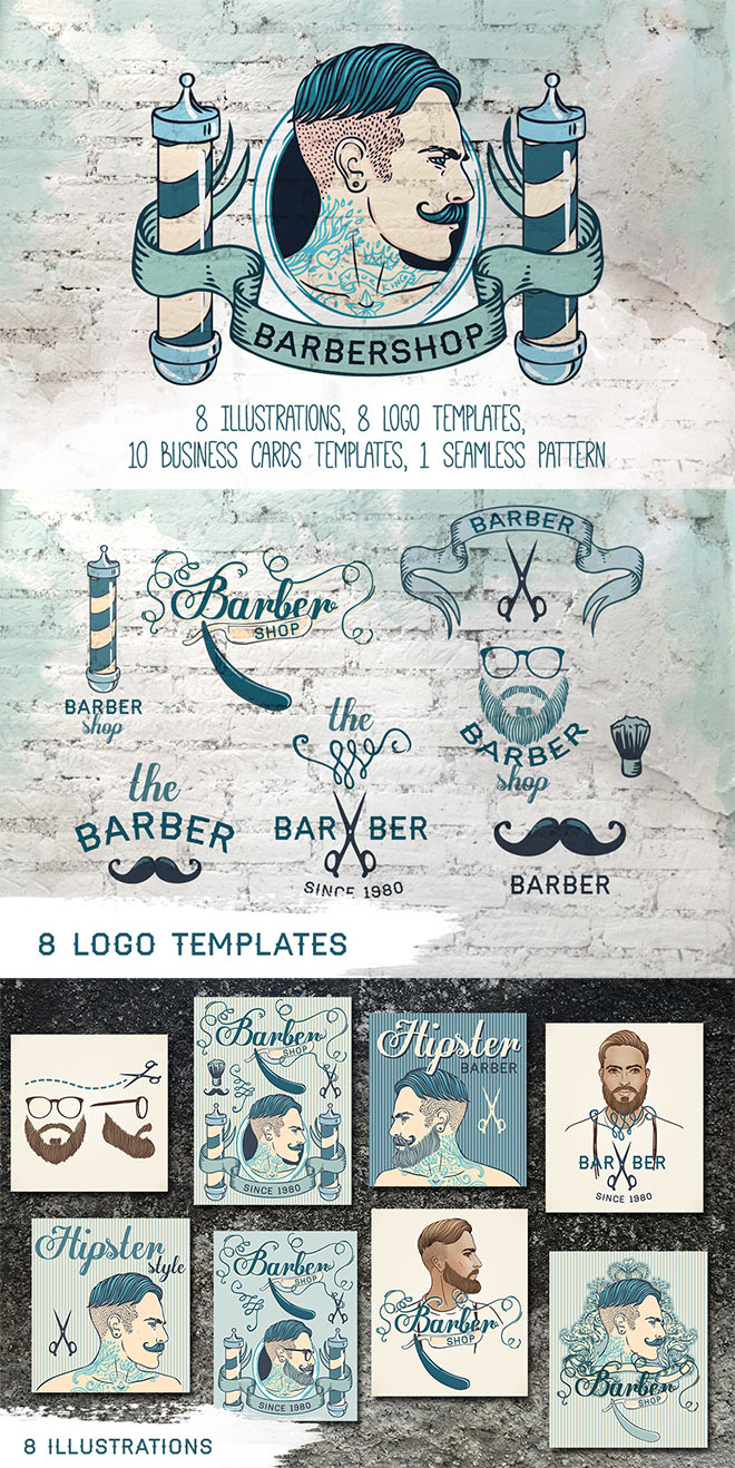 Vintage Barbershop Branding Kit by Varvara Gorbash