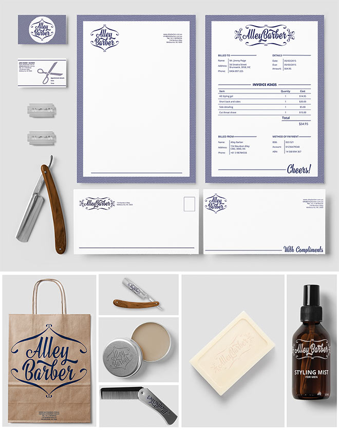 Alley Barber Brand Identity by Kristen Carless