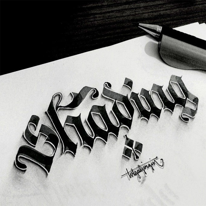 Shaded Lettering by Tolga Girgin