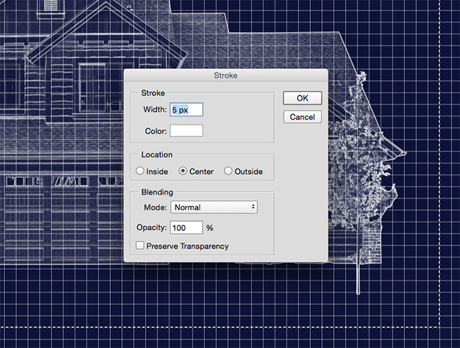 How to create a blueprint effect in adobe photoshop use the marquee tool to draw a selection around the main image that lines up perfectly with the grid pattern right click and select stroke then enter 5px malvernweather Choice Image