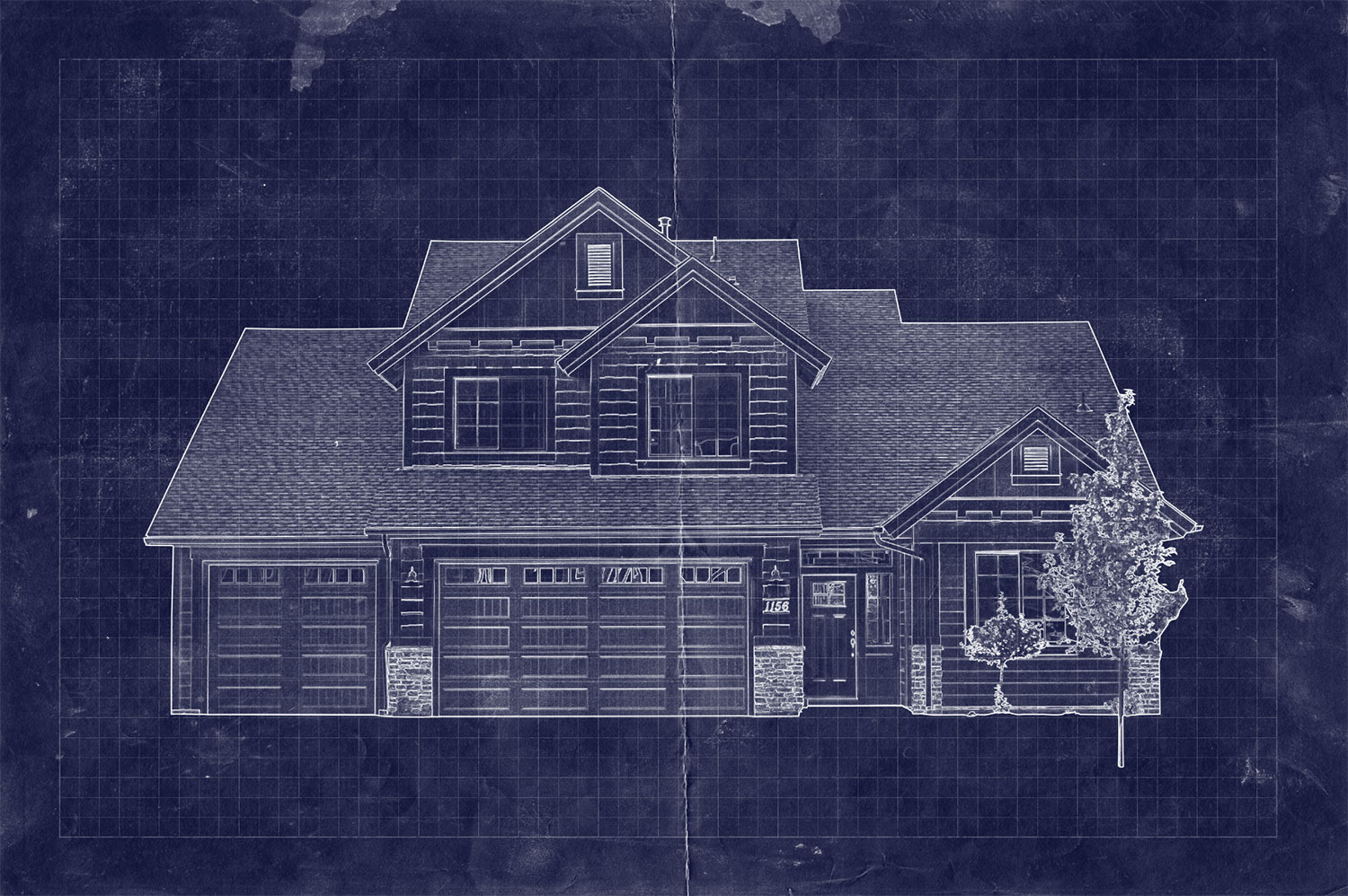 How to create a blueprint effect in adobe photoshop for House blueprint images