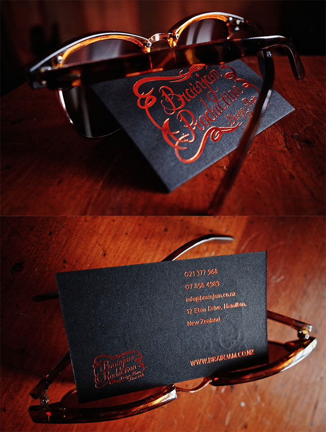 Showcase of creative print designs with hot foil stamping business card by brainjam production reheart Image collections