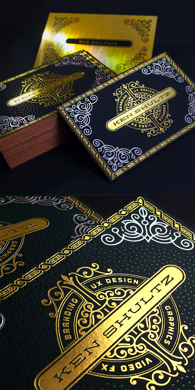 Black and Gold Foiled Business Cards by JukeBoxPrint