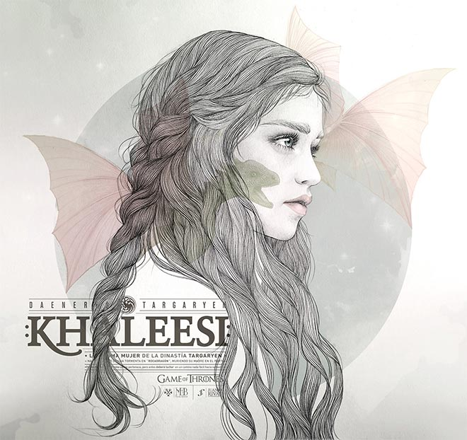 Khaleesi Illustration by Mercedes DeBellard and JuanJo Rivas Del Rio