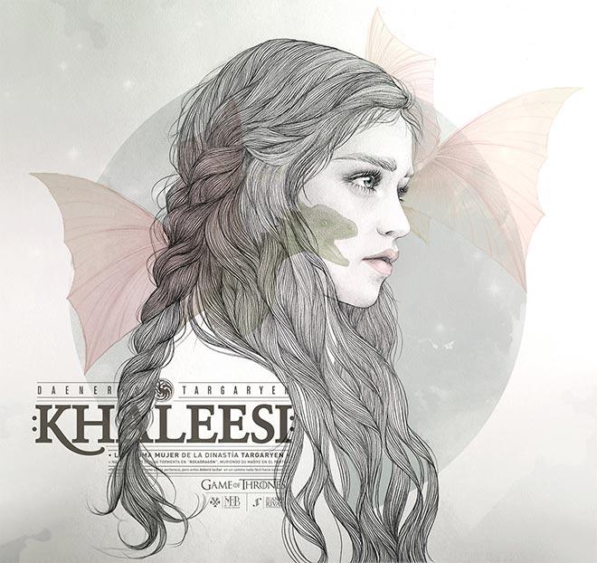 Khaleesi Illustration by Mercedes DeBellard and JuanJo Rivas Del Rio