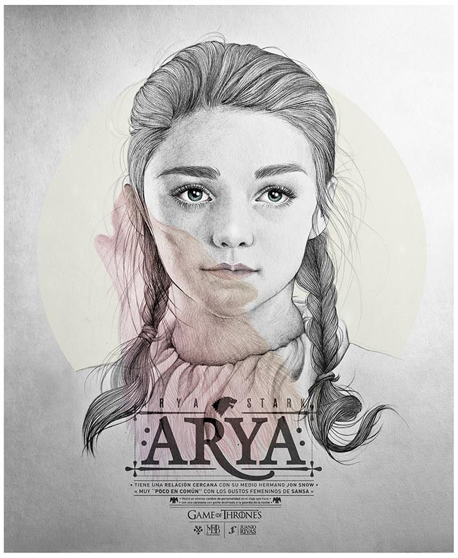 Arya Stark Illustration by Mercedes DeBellard and JuanJo Rivas Del Rio