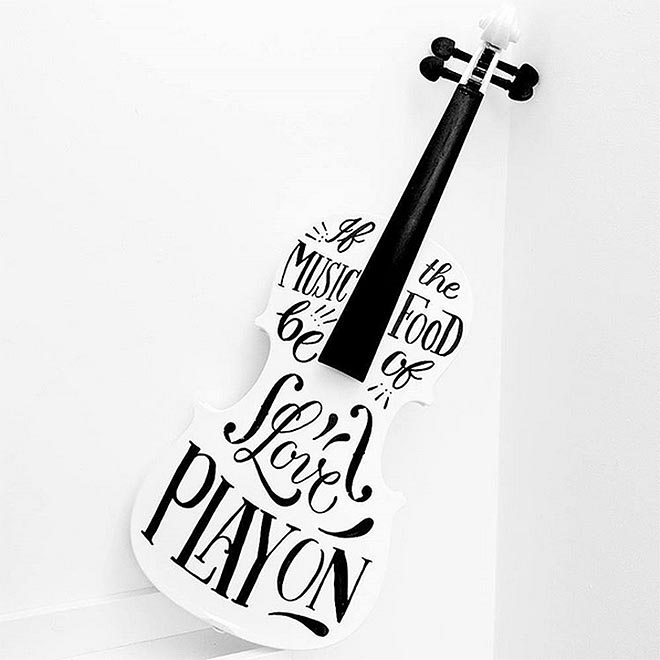 Hand Lettered Violin by Ian Barnard