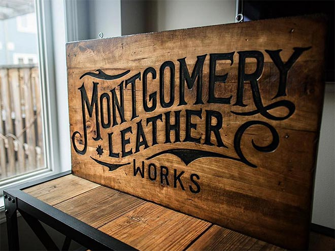 Montgomery Leather Works Sign by Oban Jones