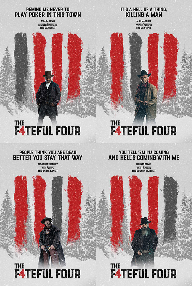 Fateful Four Posters in the style of The Hateful Eight