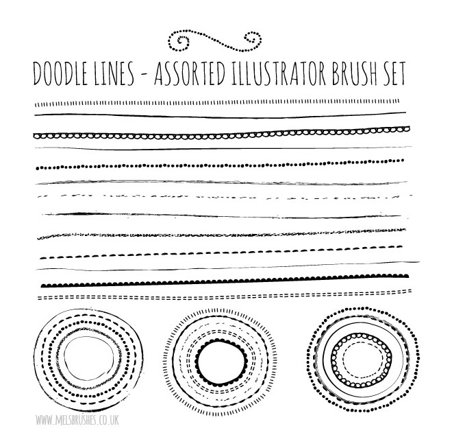 Natural Sketch Doodle Lines Brush Set