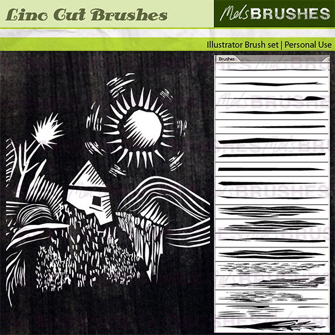 Free Lino Cut brushes for Illustrator