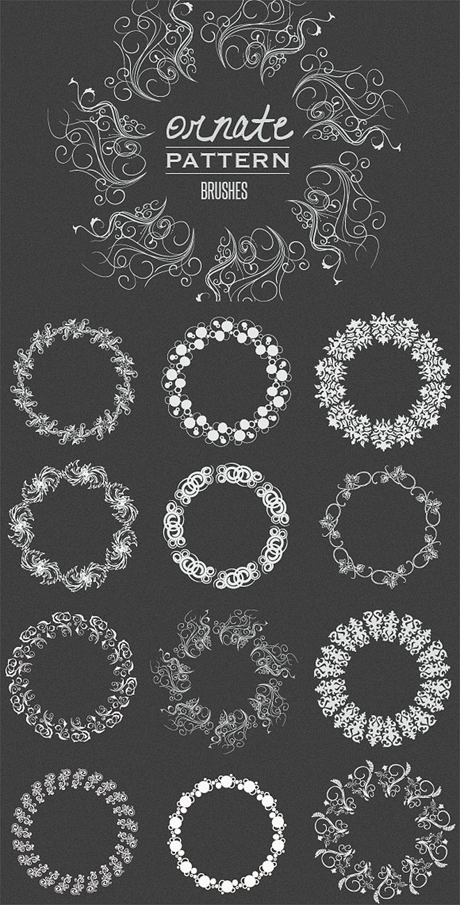 Cepillos de patrón de vector adornado