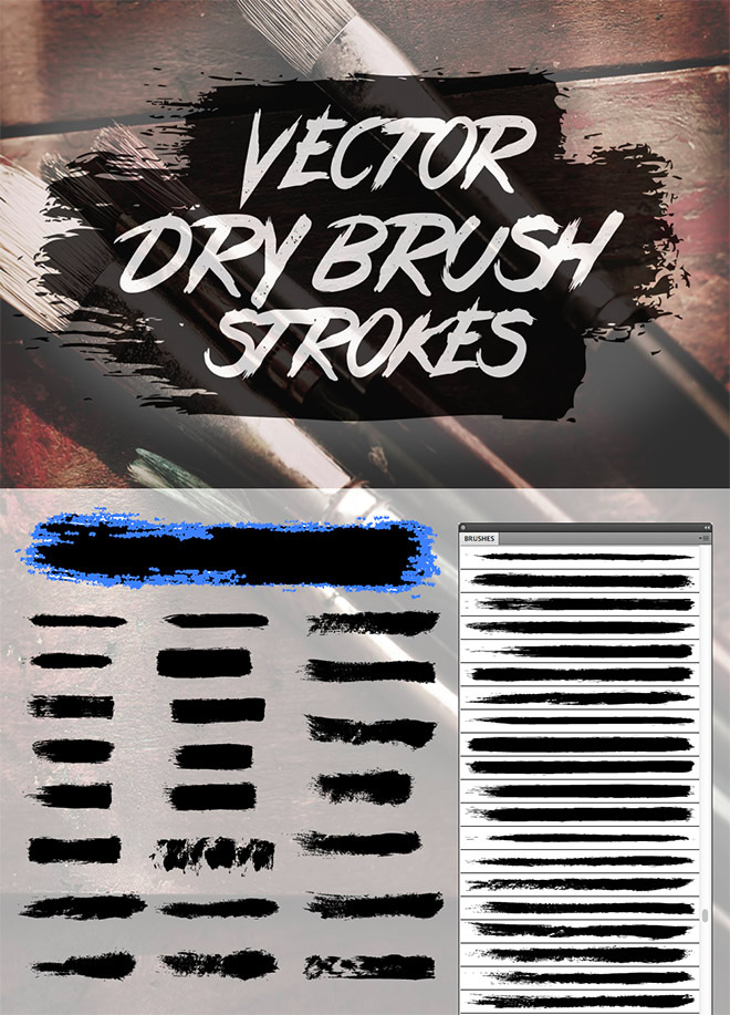 24 Free Vector Dry Brush Stroke Brushes