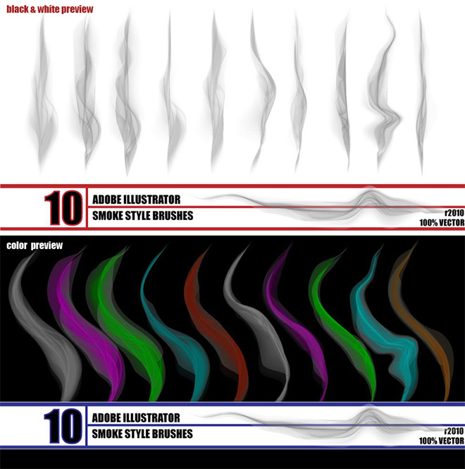 Smoke Illustrator brush pack