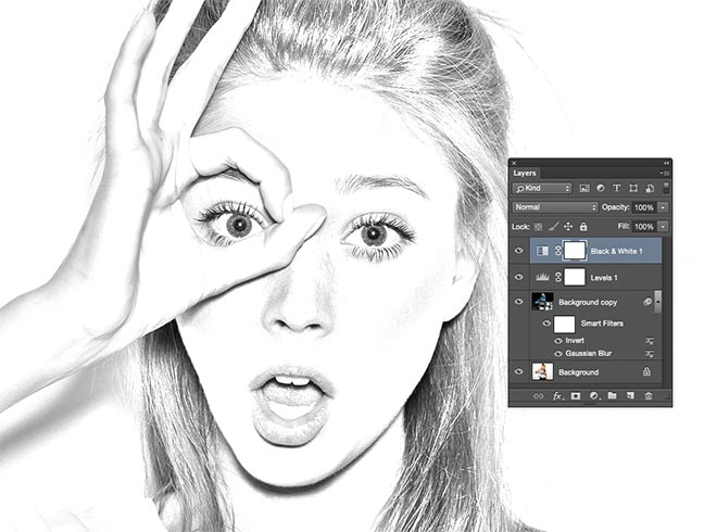 The default settings will suffice to remove the colour and generate more of a standard pencil appearance