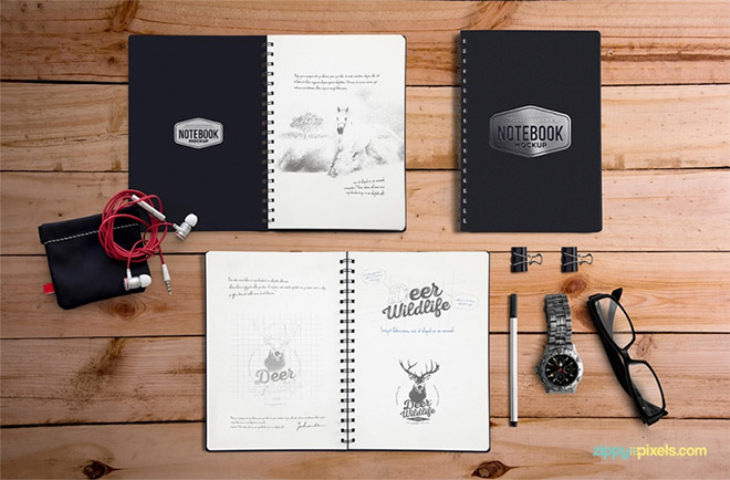 Free Notebook Mockup With Movable Elements