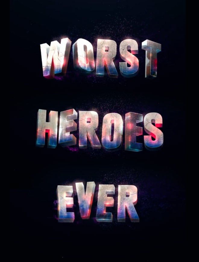 Suicide Squad Worst Heroes Ever Text Effect