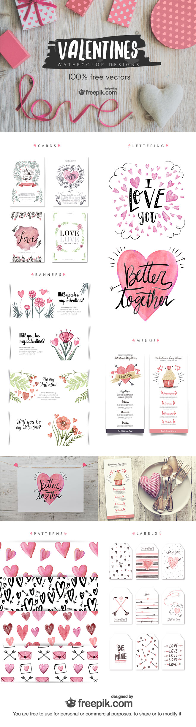 Valentines Watercolor Designs