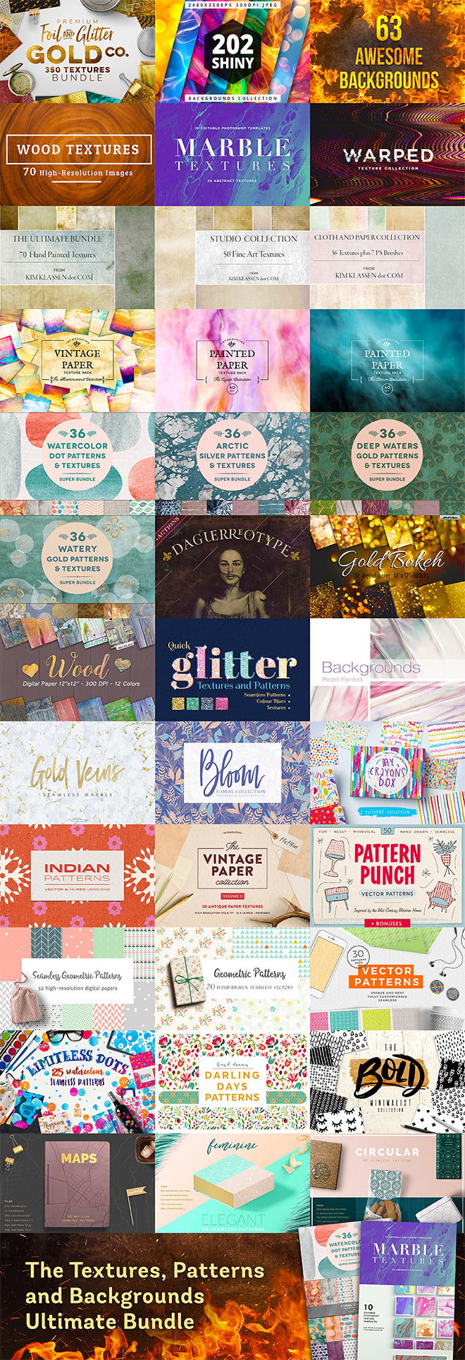 99% off! The Ultimate Textures, Patterns & Backgrounds Bundle