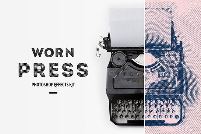 Worn Press Photoshop Effects Kit