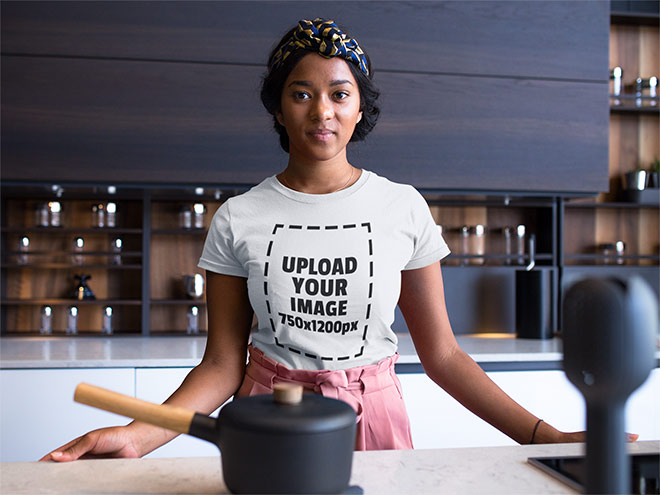 Woman wearing a round next t-shirt mockup