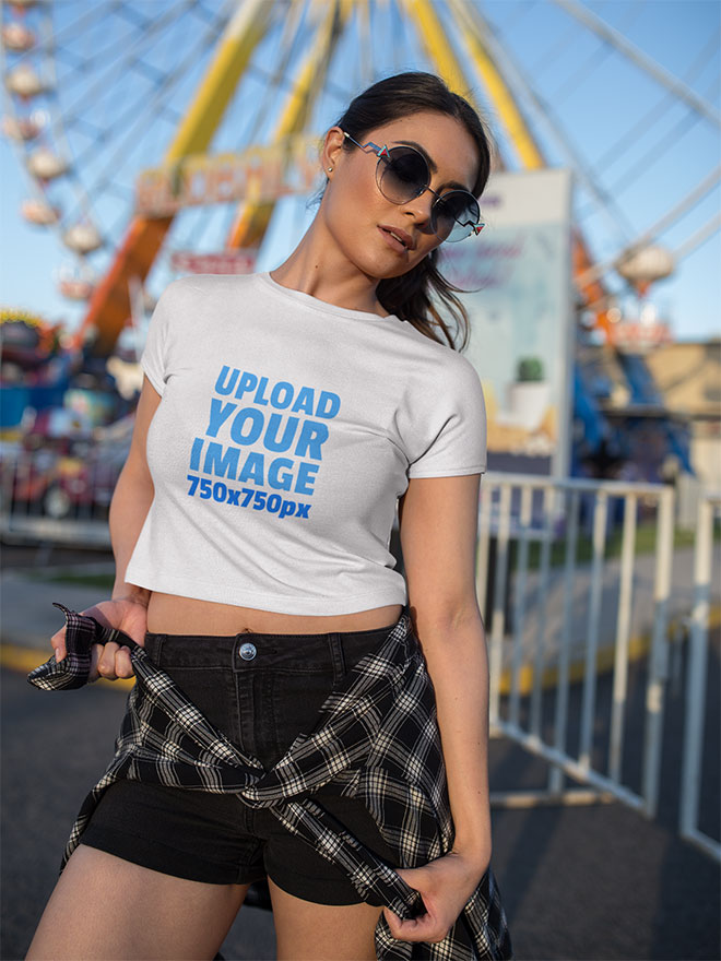 Woman Wearing a Crop Top Mockup