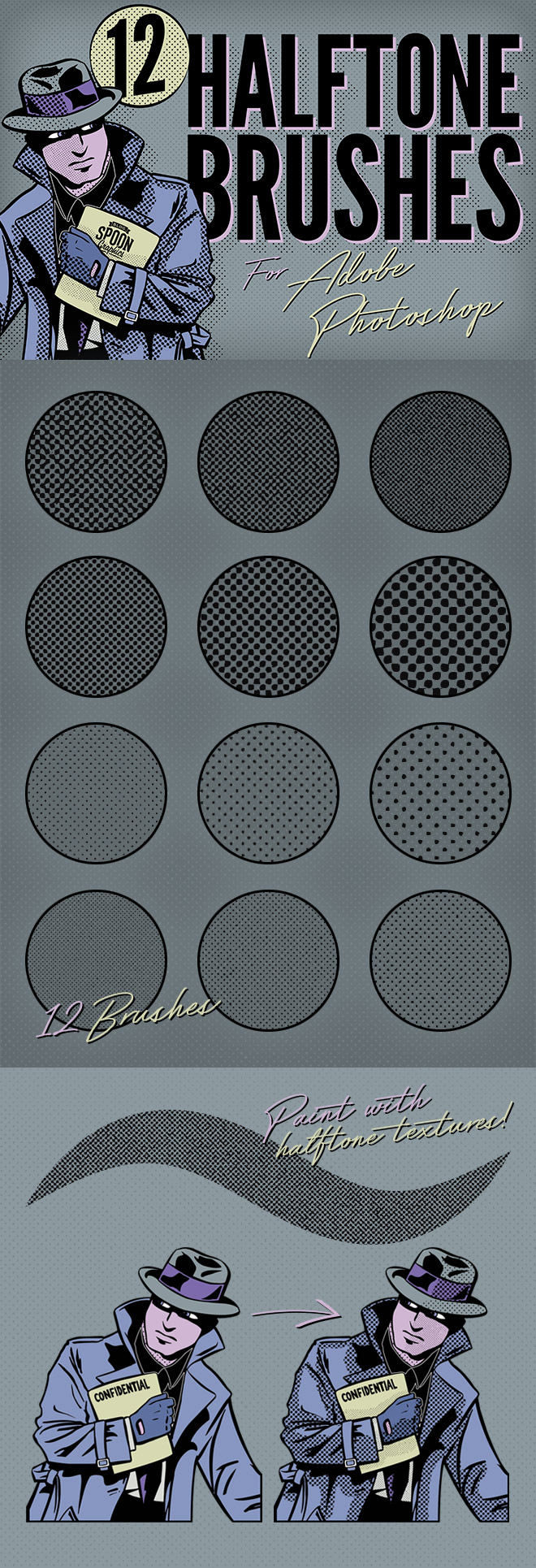 12 Free Halftone Texture Brushes for Adobe Photoshop