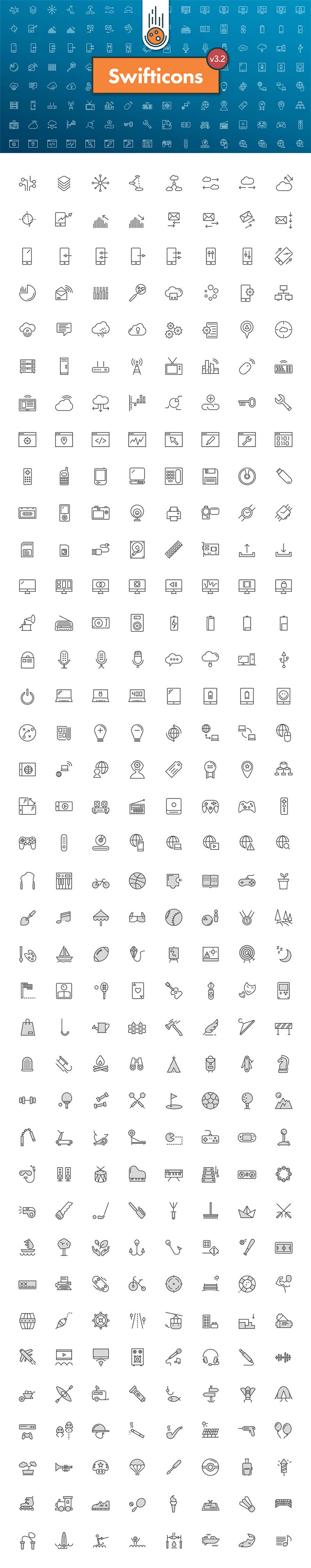 300 Free Tech & Activities Icons from Swifticons