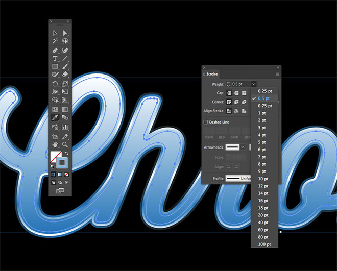illustrator how to create a gradient in a word