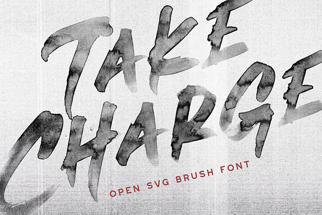 Take Charge - OpenTypeSVG Brush Font