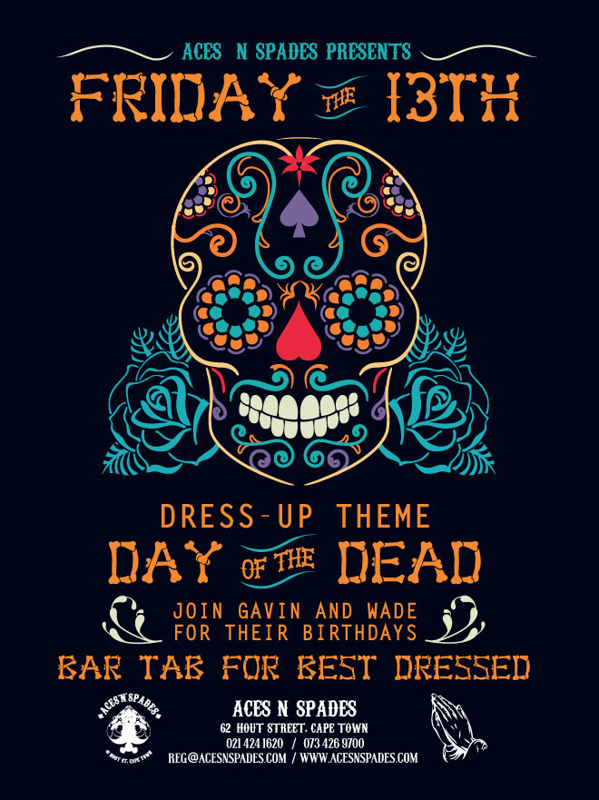 Aces 'n' Spades Day of the Dead Poster by Alethia Erchen