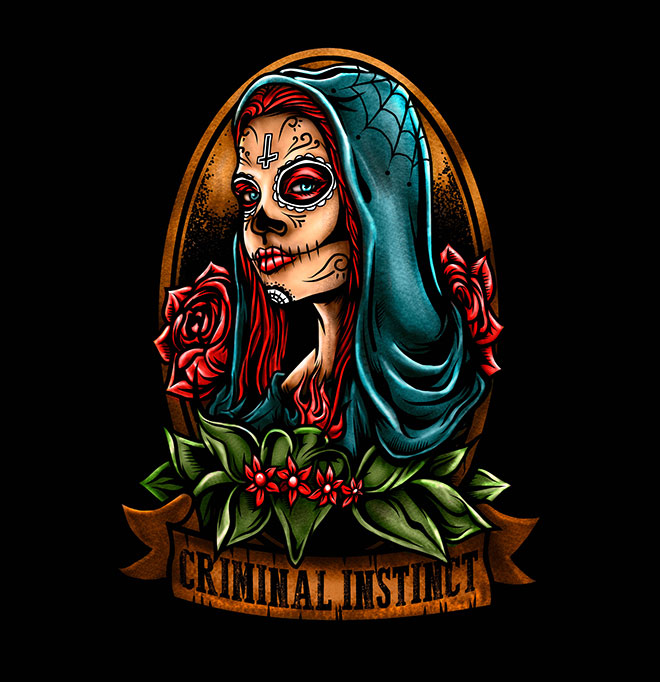 Lady Sugar Skull by Resolve.ink Design