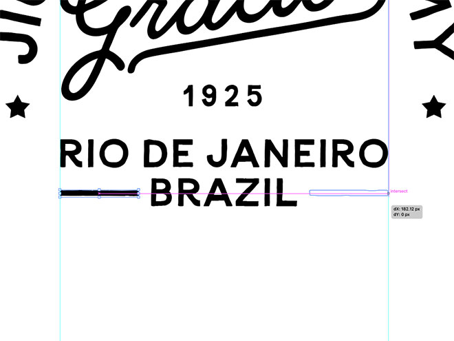 How to create a distressed vintage style logo design in adobe rotate the shape by 90 and stretch it to fit between the guide and the word brazil make a copy for the other side spiritdancerdesigns Choice Image