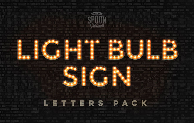 Free Pack of Realistic Vintage Light Bulb Sign Letters