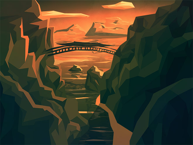 The Bridge Low Poly Illustration by David G
