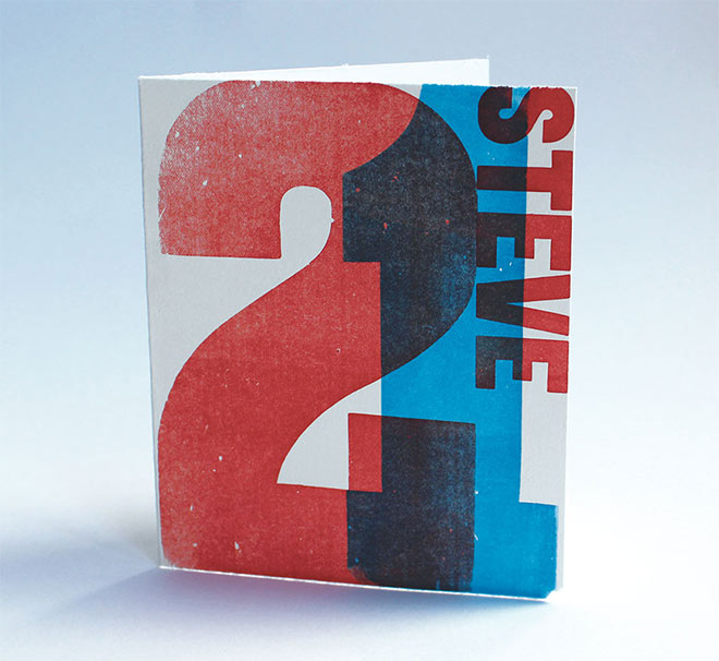Letterpress 21st Birthday Card by Hannah Packard